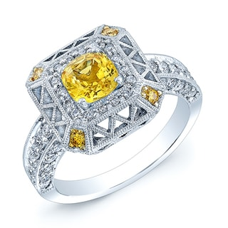 14k White Gold Vintage Yellow Sapphire and 7/8ct TDW Diamond Ring (H-I, VS1-VS2) (Size 7)