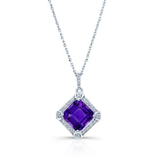 Estie G 14k White Gold Amethyst and 1/10ct TDW Diamond Twist Curb Chain Necklace (H-I, SI1-SI2)