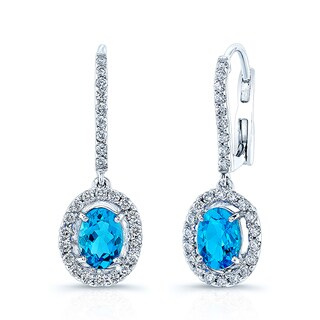 Estie G 14k White Gold Swiss Blue Topaz and 1/2ct TDW Diamond Halo Drop Earrings (H-I, VS1-VS2)