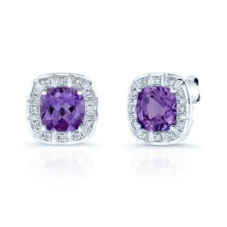Estie G 14k White Gold Radiant-cut Amethyst and 1/4ct TDW Diamond Earrings (H-I, VS1-VS2)
