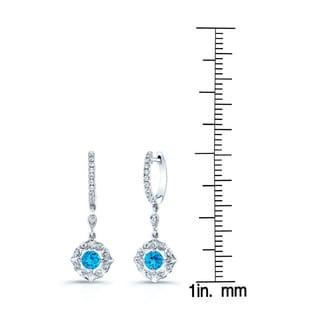 Estie G 14k White Gold Swiss Blue Topaz and 1/5ct TDW Diamond Levverback Drop Earrings (H-I, VS1-VS2)