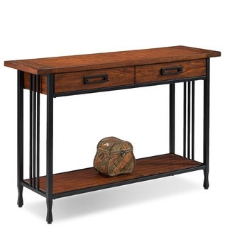 Matte Black Slatted Metal Base 2-drawer Burnished Mission Oak Sofa Table