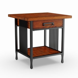Matte Black Slatted Metal Base Drawer Burnished Mission Oak End Table