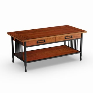 Matte Black Slatted Metal Base 2-drawer Burnished Mission Oak Coffee Table