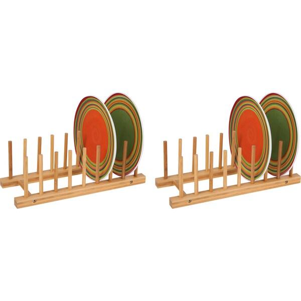 Natural Bamboo Plate Holder (Set of 2)