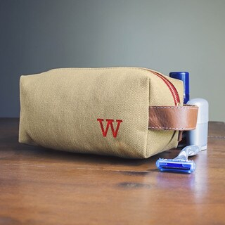 Personalized Tan Waxed Canvas and Leather Dopp Kit