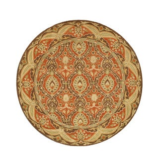 Hand-tufted Round Red Khyber Wool Rug (6' x 6')