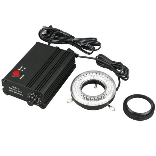80-LED Microscope Ring Light Black with Metal Body and Adapter