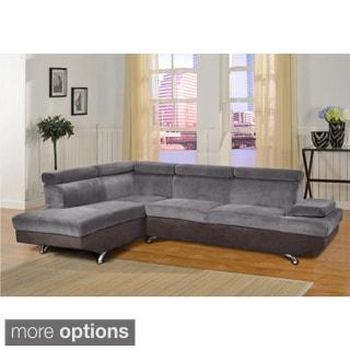 Elena 2-piece Two-tone Microfiber Sectional Sofa Set