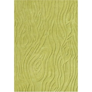Alliyah Handmade Lime Green Hi/ Low New Zealand Blend Wool Rug (5' x 8')