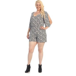 Women's Plus Size Patterned Short Romper
