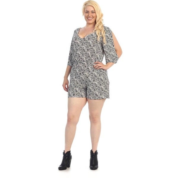 Women's Plus Size Patterned Short Romper
