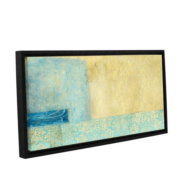 ArtWall Elena Ray 'Gold And Blue Banner ' Gallery-Wrapped Floater-Framed Canvas 15585192