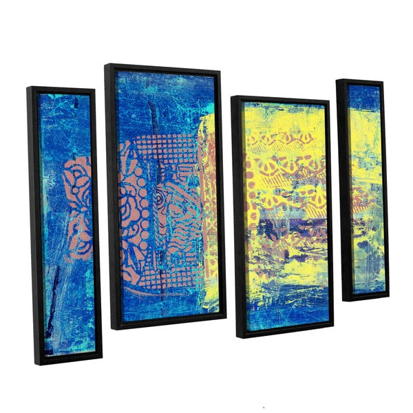ArtWall Elena Ray ' Blue With Stencils' 4 Piece Floater Framed Canvas Staggered Set 15585227
