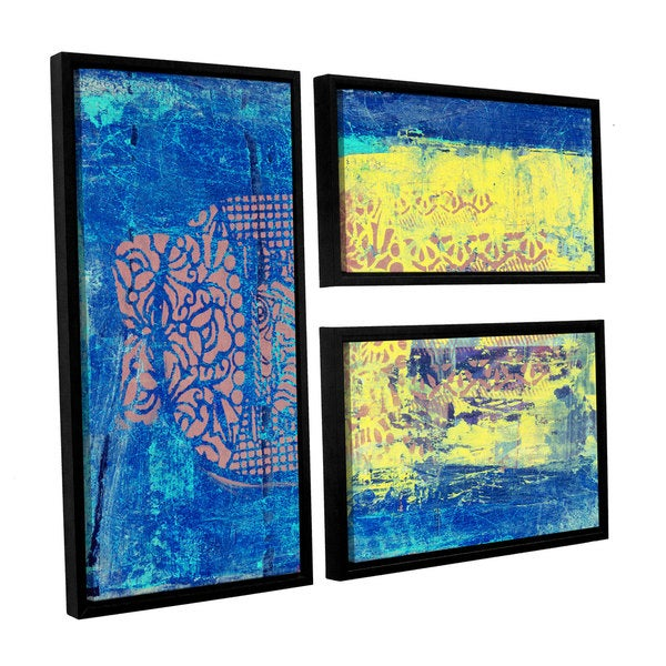 ArtWall Elena Ray ' Blue With Stencils 3 Piece Floater Framed Canvas Flag Set 15585228