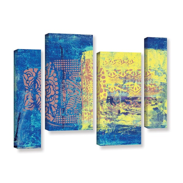 ArtWall Elena Ray ' Blue With Stencils 4 Piece ' Gallery-Wrapped Canvas Staggered Set 15585229
