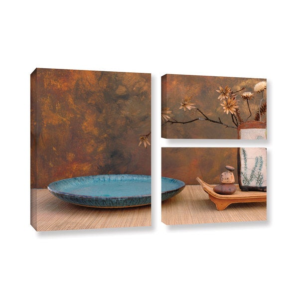 ArtWall Elena Ray ' Blue With Stencils 3 Piece ' Gallery-Wrapped Canvas Flag Set - Multi 15585231