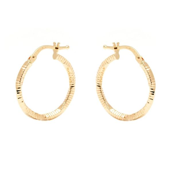 14k Yellow Gold 2 x 20mm Diamond-cut Hoop Earrings