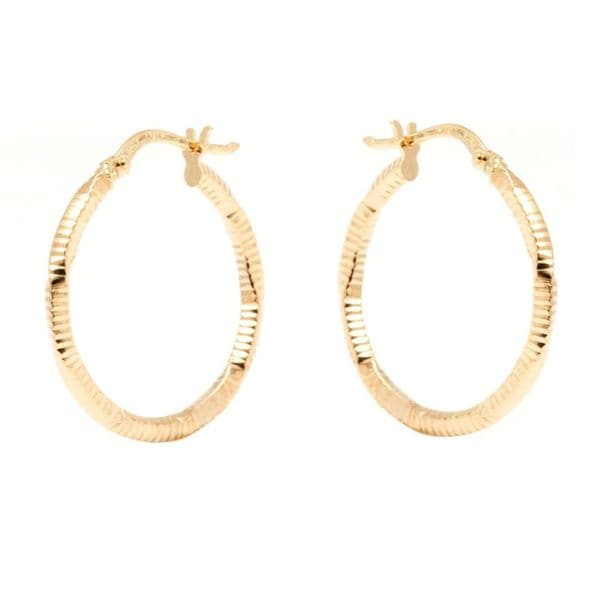 14k Yellow Gold 2 x 23mm Diamond-cut Hoop Earrings