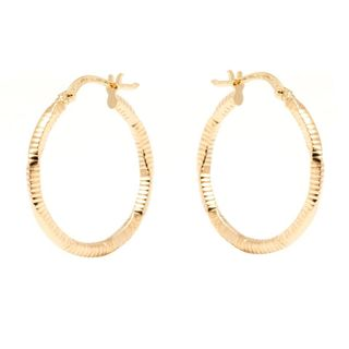 Pori 14k Yellow Gold 2 x 23mm Diamond-cut Hoop Earrings