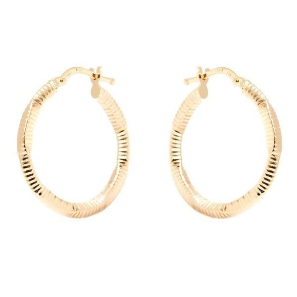 14k Yellow Gold 2.5 x 24mm Diamond-cut Hoop Earrings
