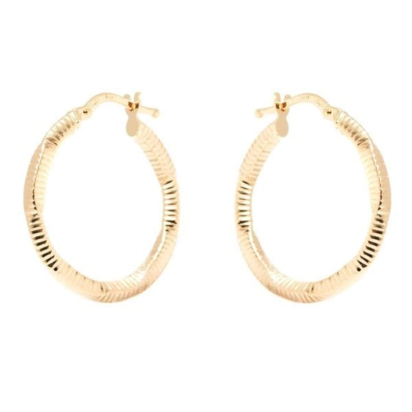 14k Yellow Gold 2.5 x 24mm Diamond-cut Hoop Earrings