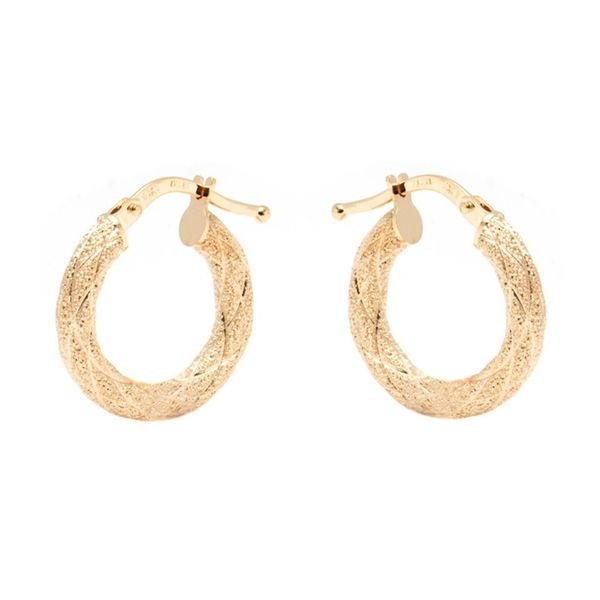 14k Yellow Gold 3 x 16mm Sparkle Hoop Earrings