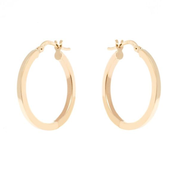 14k Yellow Gold 2 x 23mm Square Edge Hoop Earrings