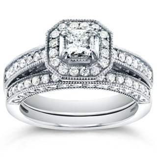 Annello 14k White Gold 3/4ct TDW Princess-cut Halo Diamond Bridal Rings Set (H-I, I1-I2)
