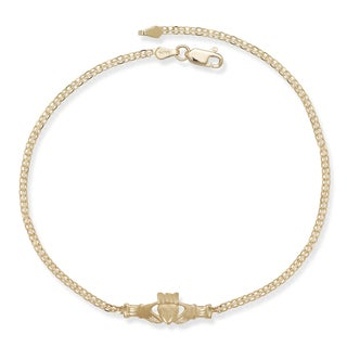 14k Yellow Gold 10-inch Irish Claddagh Anklet