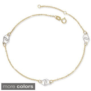 14k Two-tone Gold 9-10-inch Adjustable Interlocking Hearts Cable Station Anklet