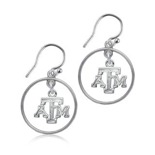 Texas AandM Sterling Silver Open Drop Earrings