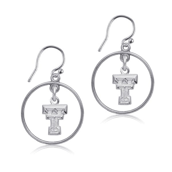 Texas Tech Sterling Silver Open Drop Earrings