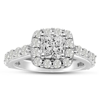 14k White Gold 2ct Princess-cut Certified Halo Diamond Engagement Ring (I-J, I1-I2)
