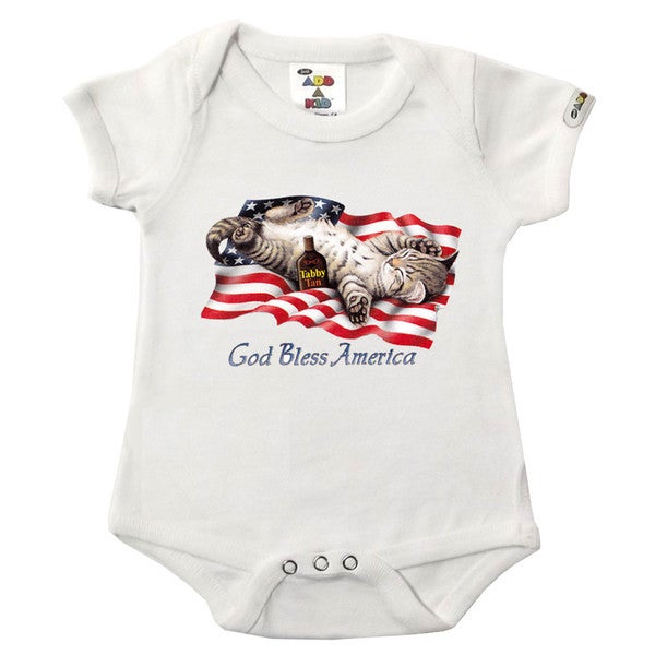 """God Bless America"" Printed White Bodysuit"