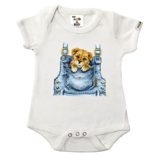 """Puppy in pocket"" Printed White Bodysuit"