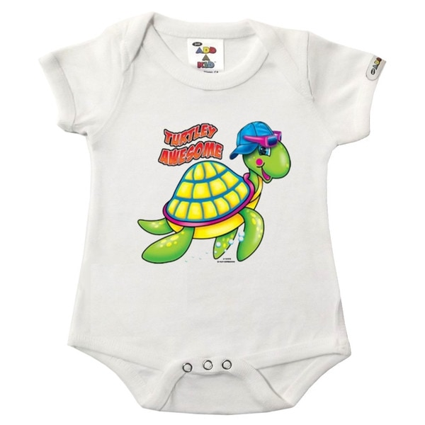 """Turtley Awesome"" Printed White Bodysuit"