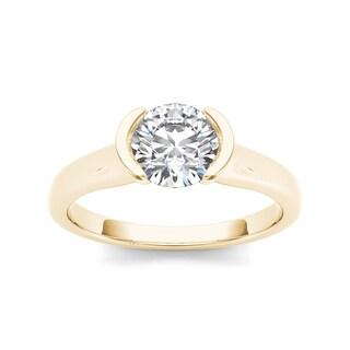 De Couer 14k Yellow Gold 1ct TDW Diamond Half-Bezel Engagement Ring (H-I, I2)