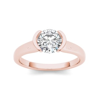 De Couer 14k Rose Gold 1ct TDW Diamond Half-Bezel Engagement Ring (H-I, I2)