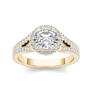 De Couer 14k Yellow Gold 1 1/2ct TDW Diamond Split-Shank Halo Engagement Ring (H-I, I2)