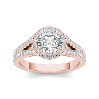 De Couer 14k Rose Gold 1 1/2ct TDW Diamond Split-Shank Halo Engagement Ring (H-I, I2)