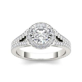De Couer 14k White Gold 1 1/2ct TDW Diamond Split-Shank Halo Engagement Ring (H-I, I2)