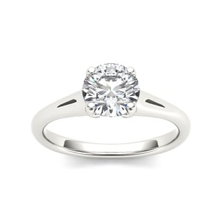 De Couer 14k White Gold 1ct TDW Diamond Comely Engagement Ring (H-I, I2)