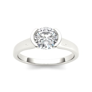 De Couer 14k White Gold 1ct TDW Diamond Half-Bezel Engagement Ring (H-I, I2)