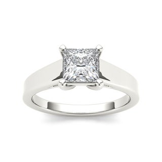 De Couer 14k White Gold 1ct TDW Princess-Cut Diamond Classic Engagement Ring (H-I, I2)