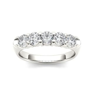 De Couer 14k White Gold 1/2ct TDW Diamond Five-Stone Women's Wedding Band (H-I, I2)