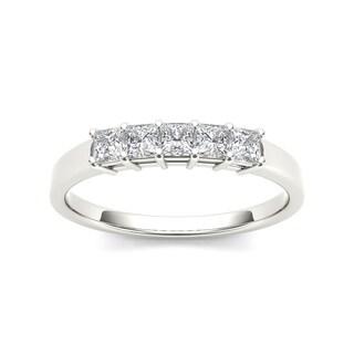 De Couer 14k White Gold 1 1/4ct TDW Diamond Five-Stone Women's Wedding Band (H-I, I2)