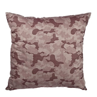 Red Camo Jacquard Cotton 18-inch Throw Pillow