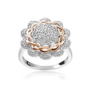 SummerRose 14k Two-tone Gold 1/4ct TDW Diamond Flower Ring (H-I, SI1-SI2)