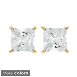 NEXTE Jewelry Goldtone or Silverton Princess-cut Cubic Zirconia Stud Earrings